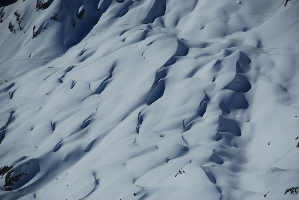 Snowy limestone formations