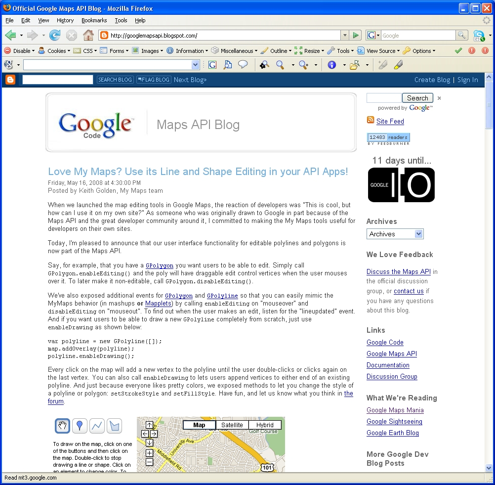 Screenshot of Official Google Maps API Blog
