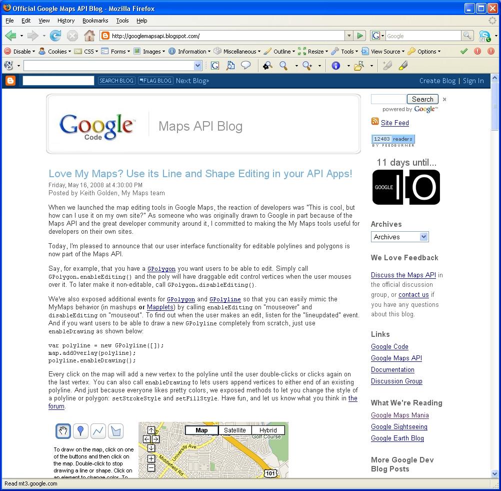 Screenshot of Official Google Maps API Blog